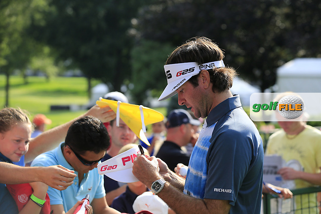 Bubba Watson (USA) signs autographs for fans at the end of Friday's Round 1 of the 2013 Bridgestone Invitational WGC tournament held at the Firestone Country Club, Akron, Ohio. 2nd August 2013.<br /> Picture: Eoin Clarke www.golffile.ie