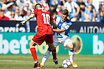 CD Leganes' Ruben Perez (r) and Sevilla FC's Samir Nasri during La Liga match. October 15,2016. (ALTERPHOTOS/Acero)