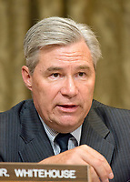 "United States Senator Sheldon Whitehouse (Democrat of Rhode Island) questions US Secretary of the Treasury Steven T. Mnuchin as he gives testimony before the US Senate Committee on The Budget ""on the Presidentís FY 18 Budget and Revenue Proposals Featuring Treasury"" on Capitol Hill in Washington, DC on Tuesday, June 13, 2017. Photo Credit: Ron Sachs/CNP/AdMedia"