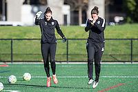 Allston, MA - Sunday, April 24, 2016: Seattle Reign FC goalkeepers Hope Solo (1) and Haley Kopmeyer (28). The Boston Breakers play Seattle Reign during a regular season NSWL match at Harvard University.