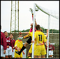 3rd October 98      .Copyright Pic : James Stewart   .STENHOUSEMUIR V ALBION ROVERS.THE BALL DROPS INTO THE NET BEHIND ALBION KEEPER M.MACLEAN FROM A STENNY CORNER KICK... HOWEVER REFEREE MARTIN CLARK CHALKED THE GOAL OFF......Payments to :-.James Stewart Photo Agency, Stewart House, Stewart Road, Falkirk. FK2 7AS      Vat Reg No. 607 6932 25.Office : 01324 630007        Mobile : 0421 416997.If you require further information then contact Jim Stewart on any of the numbers above.........