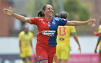 MEDELLIN - COLOMBIA, 15-09-2019: Manuela Vanegas del Medellín celebra después de anotar el segundo gol de su equipo al Huila durante partido por la semifinal vuelta entre Deportivo Independiente Medellín y Atlético Huila como parte de la Liga Femenina Águila 2019 jugado en el estadio Polideportivo Sur de la ciudad de Medellín. / Manuela Vanegas of Medellin celebrates after scoring the second goal of his team to Huila during Match for the second leg semifinal between Deportivo Independiente Medellin and Atletico Huila as part Aguila Women League 2019 played at Polideportivo Sur stadium in Medellin city. Photo: VizzorImage / Leon Monsalve / Cont