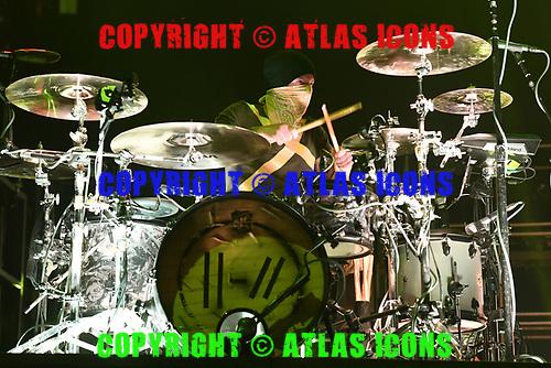 MIAMI, FL - JUNE 15: Josh Dun of Twenty One Pilots performs at the AmericanAirlines Arena on June 15, 2019 in Miami Florida. Credit Larry Marano © 2019