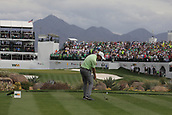 February 2nd 2019, Scottsdale, Arizona, USA; Gary Woodland tees off on the 16th hole during the third round of the Waste Management Phoenix Open on February 02, 2019, at TPC Scottsdale in Scottsdale, AZ.