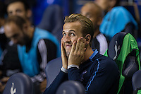 Harry Kane of Tottenham Hotspur sits on the bench as his replacement Son Heung-Min of Tottenham Hotspur scores two goals during the UEFA Europa League match between Tottenham Hotspur and Qarabag FK at White Hart Lane, London, England on 17 September 2015. Photo by Andy Rowland.