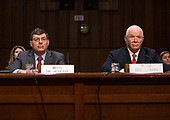 Dr. Christopher Scolese, Director, NASA Goddard Space Flight Center, left, and United States Senator Ben Cardin (Democrat of Maryland), right, at the witness table before the United States Senate Select Committee on Intelligence to testify on Scolese's nomination to be the Director of the National Reconnaissance Office (NRO), on Capitol Hill on May 1, 2019<br /> Credit: Ron Sachs / CNP