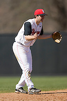 Jeff Grantham (12) of the St. John's Red Storm on defense versus the North Carolina Tar Heels at the 2008 Coca-Cola Classic at the Winthrop Ballpark in Rock Hill, SC, Sunday, March 2, 2008.