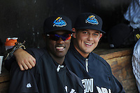 Trenton Thunder pitchers Luis Severino (11) and Jaron Long (28) during game against the Binghamton Mets at ARM & HAMMER Park on July 27, 2014 in Trenton, NJ.  Trenton defeated Binghamton 7-3.  (Tomasso DeRosa/Four Seam Images)