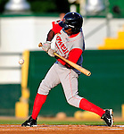 18 June 2010: Lowell Spinners outfielder Felix Sanchez at bat against the Vermont Lake Monsters at Centennial Field in Burlington, Vermont. The Lake Monsters defeated the Spinners 9-4 in the NY Penn League season home opener. Mandatory Credit: Ed Wolfstein Photo