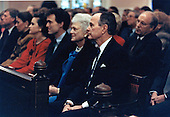 United States President George H.W. Bush and first lady Barbara Bush attend Sunday morning church service at Saint John's Episcopal Church in Washington, D.C. on February 24, 1991.  Also pictured are U.S. Secretary of Defense Dick Cheney, Marvin Bush, and Dorothy LeBlond.<br /> Mandatory Credit: David Valdez / White House via CNP
