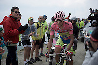 maglia rosa Alberto Contador (ESP/Tinkoff-Saxo) had to let a group of favourites go ahead up the last part of the Colle delle Finestre (2178m) dirt roads <br /> <br /> Giro d'Italia 2015<br /> stage 20: Saint Vincent - Sestriere (199km)