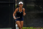 SAN DIEGO, CA - APRIL 25:  Catherine Isip of the Saint Mary's Gaels after clinching the doubles point during the WCC Tennis Championships at the Barnes Tennis Center on April 25, 2010 in San Diego, California.