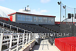 A view of the press box from next to the visitor's dugout at Bailey-Brayton Field, the baseball home of the Washington State Cougar baseball teams, on the campus of Washington State University in Pullman, Washington.