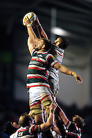Mike Fitzgerald of Leicester Tigers competes with Geoff Parling of Exeter Chiefs for the ball at a lineout. Aviva Premiership match, between Leicester Tigers and Exeter Chiefs on March 3, 2017 at Welford Road in Leicester, England. Photo by: Patrick Khachfe / JMP