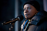 Angélique Kidjo.Grammy Award winning Benioise Singer /songwriter pauses while speaking to the crowd assembled for the Global Day of Action. (Images free for Editorial Web usage for Fresh Air Participants during COP 15. Credit: Robert vanWaarden)