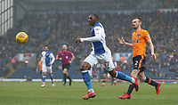 Blackburn Rovers' Amari'i Bell tracked by Oldham Athletic's Cameron Dummigan<br /> <br /> Photographer Stephen White/CameraSport<br /> <br /> The EFL Sky Bet League One - Blackburn Rovers v Oldham Athletic - Saturday 10th February 2018 - Ewood Park - Blackburn<br /> <br /> World Copyright &copy; 2018 CameraSport. All rights reserved. 43 Linden Ave. Countesthorpe. Leicester. England. LE8 5PG - Tel: +44 (0) 116 277 4147 - admin@camerasport.com - www.camerasport.com