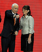 "St. Paul, MN - September 3, 2008 -- Governor Sarah Palin of Alaska, right, and United States Senator John McCain (Republican of Arizona), left, flashes a ""thumbs-up"" after Palin accepted the Republican nomination as Vice President of the United States on day 3 of the 2008 Republican National Convention at the Xcel Energy Center in Saint Paul, Minnesota on Wednesday, September 3, 2008.Credit: Ron Sachs / CNP.(RESTRICTION: NO New York or New Jersey Newspapers or newspapers within a 75 mile radius of New York City)"