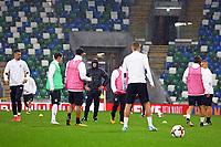 Bundestrainer Joachim Loew (Deutschland Germany) sieht beim Training zu - 04.10.2017: Deutschland Abschlusstraining, Windsor Park Belfast
