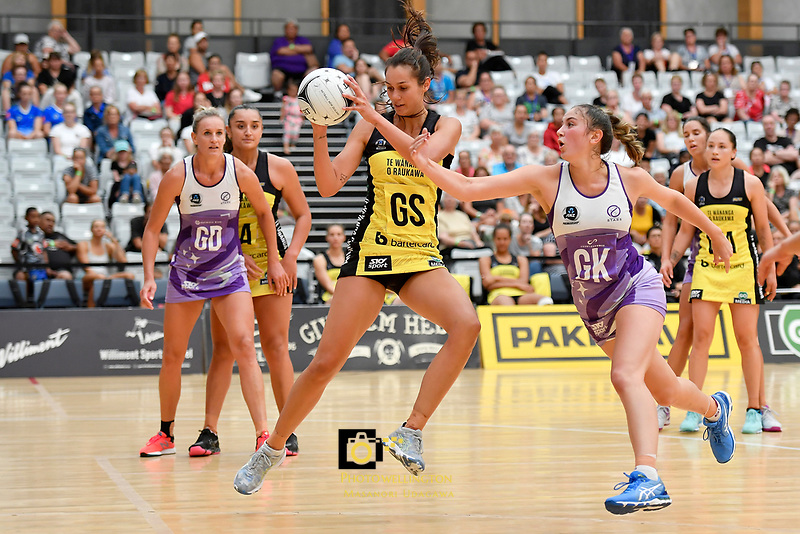 Pulse&rsquo; Ameliaranne Ekenasio in action during the Netball Pre Season Tournament - Pulse v Stars at Ngā Purapura, Otaki, New Zealand on Saturday 9 February  2019. <br /> Photo by Masanori Udagawa. <br /> www.photowellington.photoshelter.com