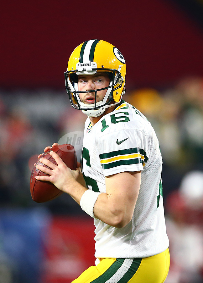Jan 16, 2016; Glendale, AZ, USA; Green Bay Packers quarterback Scott Tolzien (16)  against the Arizona Cardinals in the first quarter of a NFC Divisional round playoff game at University of Phoenix Stadium. Mandatory Credit: Mark J. Rebilas-USA TODAY Sports