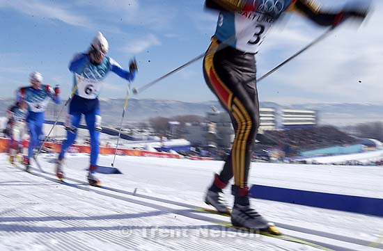 Cross Country Skiing, the Men's 4x10km Relay competition Sunday morning at the Soldier Hollow, 2002 Olympic Winter Games.; 02.17.2002, 10:12:22 AM<br />