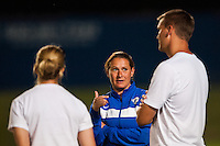Boston Breakers head coach Lisa Cole talks with her coaches after the match. Sky Blue FC defeated the Boston Breakers 5-1 during a National Women's Soccer League (NWSL) match at Yurcak Field in Piscataway, NJ, on June 1, 2013.