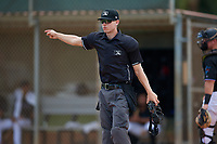 Umpire Zee Zdenek during a Gulf Coast League game between the GCL Astros and GCL Marlins on August 8, 2019 at the Roger Dean Chevrolet Stadium Complex in Jupiter, Florida.  GCL Marlins defeated GCL Astros 5-4.  (Mike Janes/Four Seam Images)
