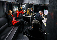 May 5, 2017; Commerce, GA, USA; NHRA top fuel driver Leah Pritchett (left) talks with crew members in her hauler lounge during qualifying for the Southern Nationals at Atlanta Dragway. Mandatory Credit: Mark J. Rebilas-USA TODAY Sports