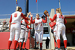 MADISON, WI - APRIL 16: Pitcher Eden Brock #4 of the Wisconsin Badgers softball team takes the field against the Indiana Hoosiers at Goodman Diamond on April 16, 2007 in Madison, Wisconsin. (Photo by David Stluka)