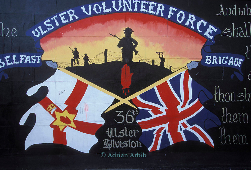 Murals painted by theProtestant community in Belfast, Northern Ireland.