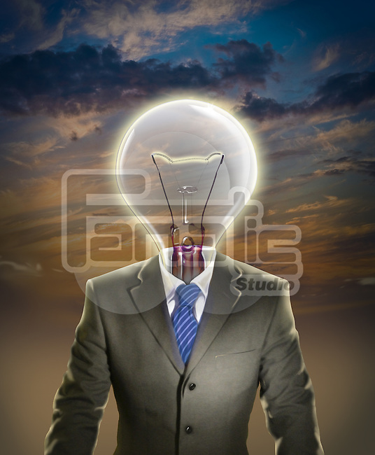 Illustrative image of businessman with light bulb representing leadership