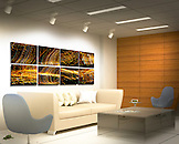 "Coming into Phoenix, Arizona from the West, at 1:30 am.  The city lights are just amazing.  This Absolute Knock Out for a high-profile professional front office consists of eight individual Phoenix at Night Series images, each one printed on a 20"" x 13"" piece of aluminum using floating mounts. Total approximate size is 7.5 ft x 2.2 ft. Contact me for further details."