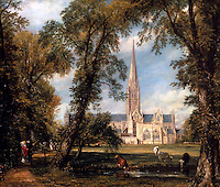 Salisbury: Salisbury Cathedral--painting by John Constable. Reference only.