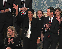 Alice Johnson who had been serving a mandatory life sentence without parole for charges associated with a nonviolent drug case waves to the audience as she is introduced by United States President Donald J. Trump during his second annual State of the Union Address to a joint session of the US Congress in the US Capitol in Washington, DC on Tuesday, February 5, 2019.  Johnson, who's case was brought to the President's attention by actress Kim Kardashian and Senior Advisor Jared Kushner, right, was granted clemency on June 6, 2018. <br /> Credit: Alex Edelman / CNP/AdMedia