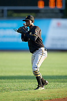 Bristol Pirates shortstop Victor Ngoepe (5) warms up before the second game of a doubleheader against the Bluefield Blue Jays on July 25, 2018 at Bowen Field in Bluefield, Virginia.  Bristol defeated Bluefield 5-2.  (Mike Janes/Four Seam Images)