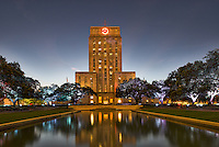This is an image of the Houston City Hall in downtown with the watrer feature in front.