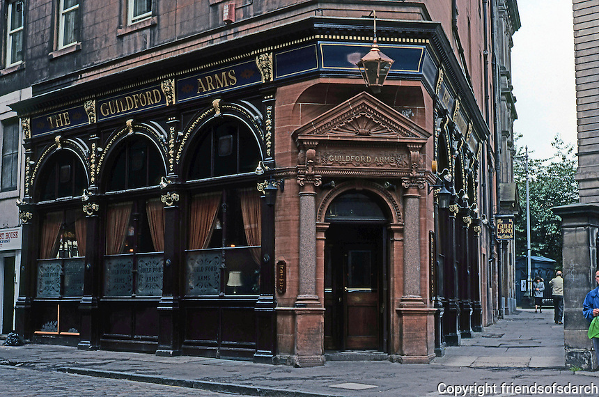 Edinburgh: Guildforn Arms Pub, West Register St.  Owned and operated by the Stewart family since 1898. Revolving front door. Photo '90.