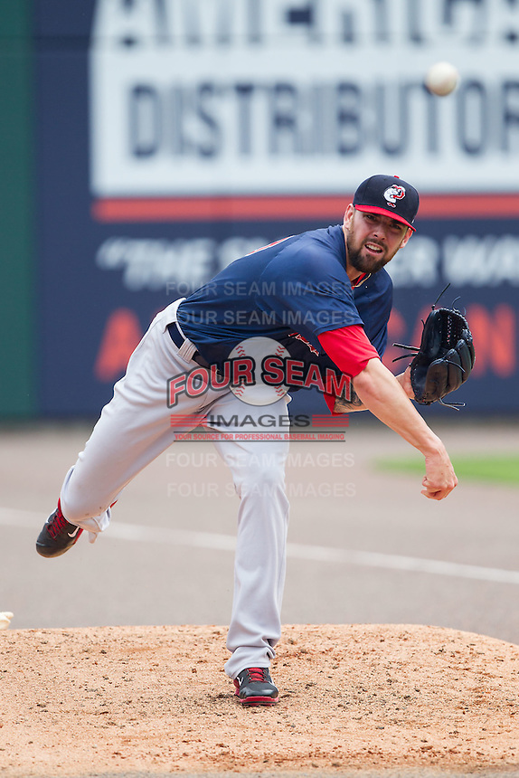 Pawtucket Red Sox starting pitcher Anthony Ranaudo (43) warms up in the bullpen prior to the game against the Charlotte Knights at BB&T Ballpark on August 8, 2014 in Charlotte, North Carolina.  The Red Sox defeated the Knights  11-8.  (Brian Westerholt/Four Seam Images)