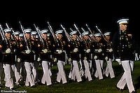 "The 2012 United States Marine Evening Parade held on August 10, 2012 at the Washington D.C. Marine Barracks. ""The oldest post in the Corp"" established in 1801."