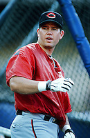 Sean Casey of the Cincinnati Reds before a 1999 Major League Baseball season game against the Los Angeles Dodgers in Los Angeles, California. (Larry Goren/Four Seam Images)