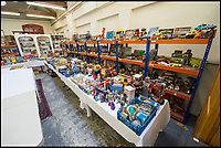 BNPS.co.uk (01202 558833)<br /> Pic: PhilYeomans/BNPS<br /> <br /> The vast collection was stored in the owners house.<br /> <br /> Take me to your leader - out of this world collection of rudimentary robots from the earliest days of sci-fi.<br /> <br /> The huge collection of over 500 classic sci-fi toys dates back to the 1950's and 60's and could now be worth a whopping &pound;30,000.<br /> <br /> The huge collection was started by a robot mad schoolboy in the 1950's as the Russian Sputnik satellite kick started the race for space and sparked huge interest in science fiction.<br /> <br /> The oldest items date from the late 1950's with models continuing all the way through to the 1990s with several classic favourites included.<br /> <br /> There are a number of lots related to TV classic Thunderbirds and a model of Robbie the Robot, who featured in the TV series Lost in Space and the film Forbidden Planet remains in terrific condition.