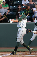 Ryon Healy #25 of the Oregon Ducks bats against the UCLA Bruins at Jackie Robinson Stadium on April 6, 2012 in Los Angeles,California. Oregon defeated UCLA 8-3.(Larry Goren/Four Seam Images)