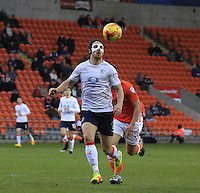 Danny Hylton of Luton Town keeps an eye on the ball during the Sky Bet League 2 match between Blackpool and Luton Town at Bloomfield Road, Blackpool, England on 17 December 2016. Photo by Liam Smith.