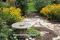 63821-23014 Bird bath in flower garden, Marion Co., IL