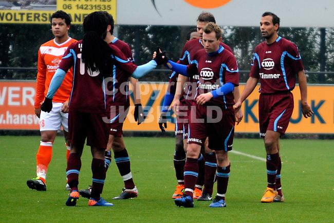 EMMEN - Voetbal, WKE - FC Lienden, Sportpark Grote Geert,  seizoen 2011-2012, 29-01-2012,  FC Lienden viert de 0-2.