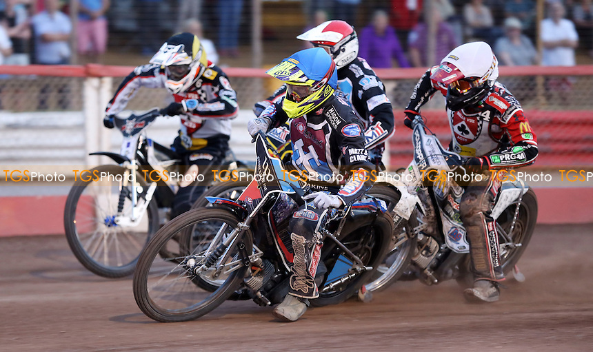 Heat 9: Adam Ellis (blue), Piotr Swiderski (red), Grzegorz Zengota (white) and Steve Worrall (yellow) - Lakeside Hammers vs Belle Vue Aces, Elite League Speedway at the Arena Essex Raceway, Pufleet - 10/07/15 - MANDATORY CREDIT: Rob Newell/TGSPHOTO - Self billing applies where appropriate - 0845 094 6026 - contact@tgsphoto.co.uk - NO UNPAID USE