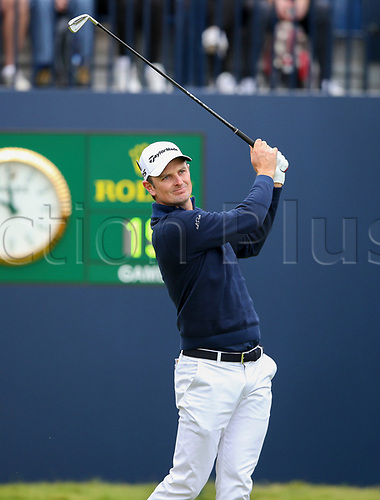 20th July 2017, Royal Birkdale Golf Club, Southport, England; The 146th Open Golf Championship ; First round ; Justin Rose (ENG) follows his shot from the tee of the  first  hole during the first round of the Open Championship