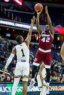 Washington, DC - MAR 7, 2018: Massachusetts Minutemen guard Rayshawn Miller (42) hits a jump shoot over La Salle Explorers guard Johnnie Shuler (1) during game between La Salle and UMass during first round action of the Atlantic 10 Basketball Tournament at the Capital One Arena in Washington, DC. (Photo by Phil Peters/Media Images International)