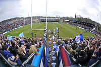 The Bath Rugby and Glasgow Warriors teams run out onto the pitch for the start of the match. European Rugby Champions Cup match, between Bath Rugby and Glasgow Warriors on January 25, 2015 at the Recreation Ground in Bath, England. Photo by: Patrick Khachfe / Onside Images