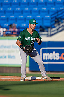 Daytona Tortugas first baseman Bruce Yari (44) during a game against the St. Lucie Mets on August 3, 2018 at First Data Field in Port St. Lucie, Florida.  Daytona defeated St. Lucie 3-2.  (Mike Janes/Four Seam Images)
